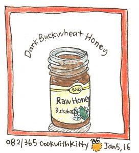 An illustration of a bottle of dark buckwheat honey