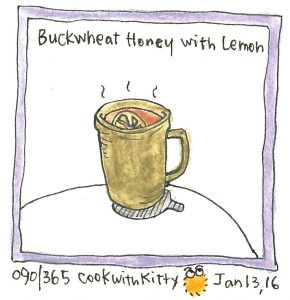 An illustration of a honey lemon drink