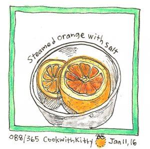 An illustration of a steamed orange with salt